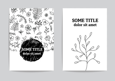Card or page template. Hand drawn floral vector design.