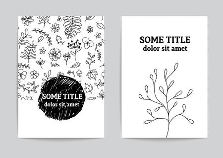 Carte ou modèle de page. Hand drawn vector design floral.