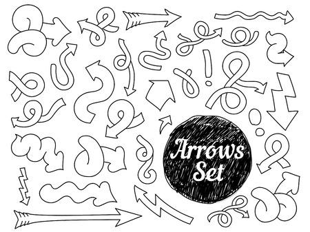 sketched arrows: Set of doodle hand drawn arrows. Sketched elements.