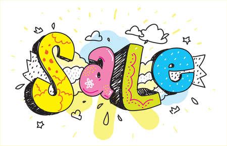 colorfull: Sale inscription. Hand drawn colorfull graffiti. Illustration