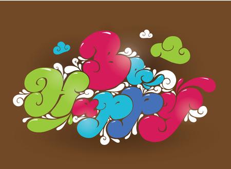 phrase: Be happy. Positive phrase. Typography vector design element. Illustration