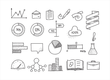 mindmap: Hand drawn infographic design elements set. Doodle icons. Black and white.