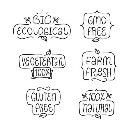 Bages lub etykiet do projektowania produktów. GMO, glutenu, bio ekologiczne, naturalne, wegetariańska elementy zestawu. Ręcznie rysowane litery.