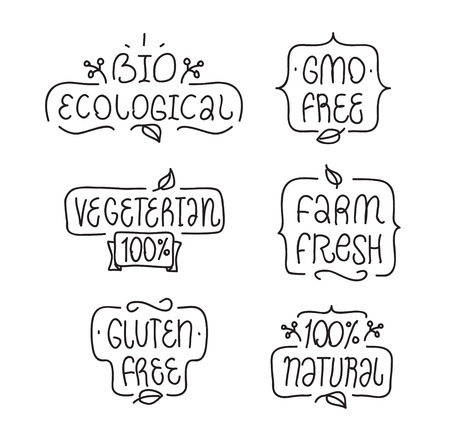 Bages oder Etiketten für Ihr Produktdesign. frei, ohne Gentechnik glutenfrei, bio ökologisch, natürlich, vegeterian Elemente. Hand gezeichnet Schriftzug.