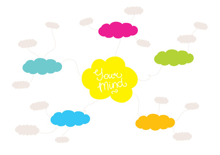 mindmap: Colorful mindmap design concept with clouds and space for your content