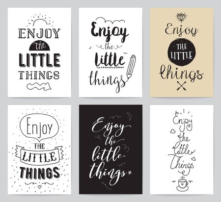 words of wisdom: Enjoy the little things. Typographic design. Words of wisdom. Illustration