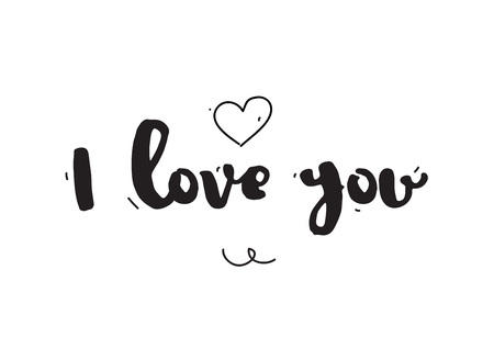 love you: Typographic design. Greeting card with quote. Useable as photo overlay