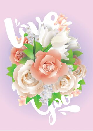 beautyful: Colorful vector illustration with love you text and beautyful flowers.