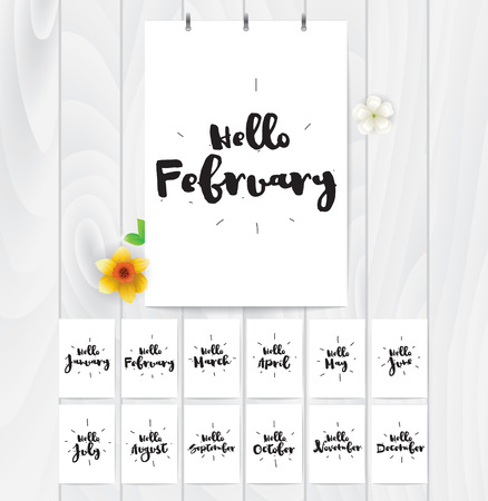 feb: Hello cards for all year. Black and white vector calligraphic design. Typographic element. Illustration