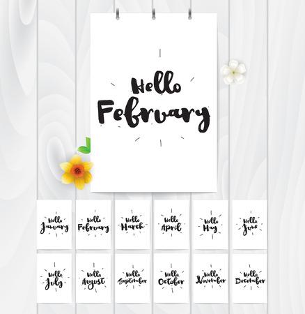 Hola tarjetas para todo el año. vector de diseño caligráfico blanco y negro. elemento tipográfico. Ilustración de vector