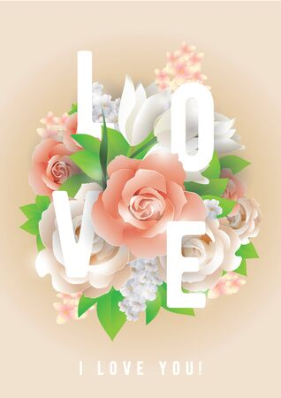 beautyful: Colorful vector illustration with text and beautyful flowers.