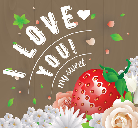 beautyful: Colorful vector illustration with i love you text and beautyful flowers. Illustration