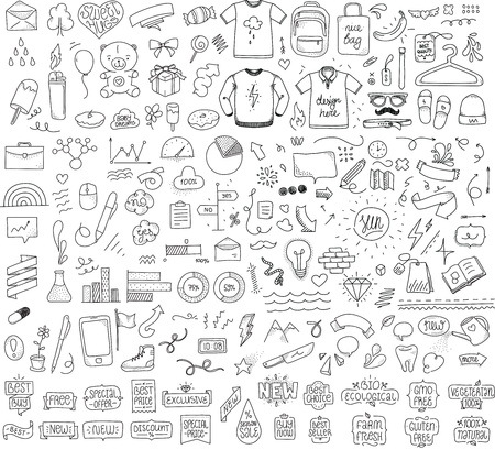Sketch objects bundle. Mega set if doodle vector objects. Hand drawn funny things.