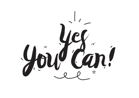 can yes you can: Typographic design. Greeting card with quote. Useable as photo overlay