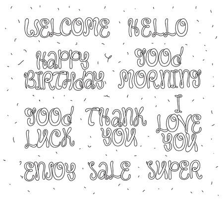 you are welcome: Welcome, thank you, good luck, happy birthday, good morning. Set of modern calligraphy and hand drawn elements. Typographical concept. Usable for cards, posters, photo overlay. Illustration