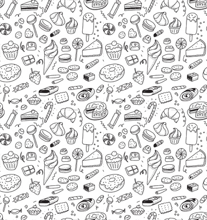 Hand drawn sweets and candies pattern. Vector doodles. Isolated food on white background. Seamless texture. Ice cream, cake, donut, ets. Black and white.