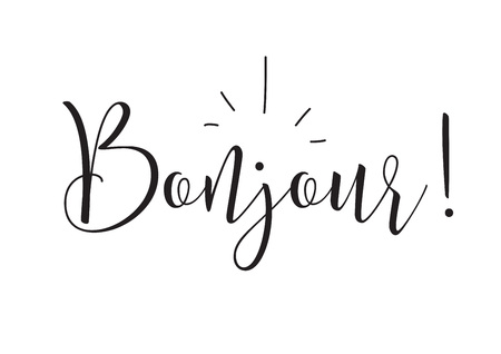 bonjour: Bonjour inscription. Greeting card with calligraphy. Hand drawn design elements. Black and white. Usable as photo overlay.