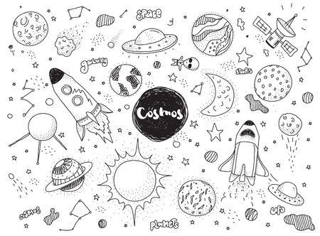 Cosmic objects set. Hand drawn vector doodles. Rockets planets constellations ufo stars satellite, etc. Space collection. Black and white. Illusztráció