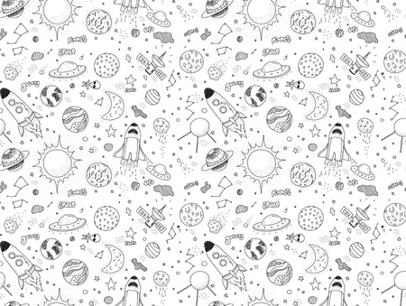 cosmo: Seamless pattern. Cosmic objects set. Hand drawn vector doodles. Rockets planets constellations ufo stars satellite, etc. Space collection. Black and white.