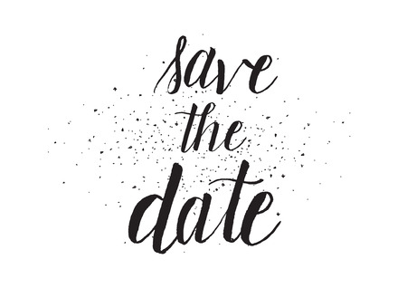 save as: Save the date inscription. Greeting card with calligraphy. Hand drawn design. Black and white. Usable as photo overlay.