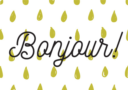 bonjour: Bonjour inscription. Greeting card with calligraphy. Hand drawn lettering design. Photo overlay. Typography for banner, poster or apparel design. Isolated vector element. Illustration