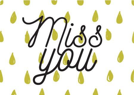 miss: Miss you inscription. Greeting card with calligraphy. Hand drawn lettering design. Photo overlay. Typography for banner, poster or apparel design. Isolated vector element. Illustration
