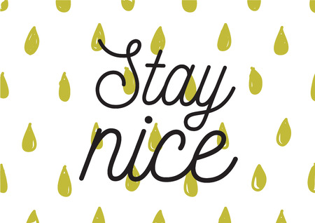 nice stay: Stay nice inscription. Greeting card with calligraphy. Hand drawn lettering design. Photo overlay. Typography for banner, poster or apparel design. Isolated vector element.