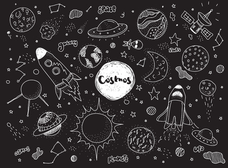 Cosmic objects set. Hand drawn vector doodles. Rockets planets constellations ufo stars satellite, etc. Space collection. Black and white. Stock Illustratie