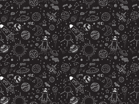 space station: Seamless pattern. Cosmic objects set. Hand drawn vector doodles. Rockets planets constellations ufo stars satellite, etc. Space collection. Black and white.