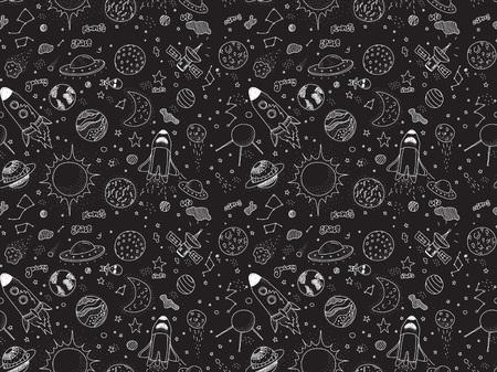 Seamless pattern. oggetti cosmici impostati. disegnato a mano scarabocchi vettore. Rockets pianeti costellazioni ufo stars satellitare, ecc Spazio insieme. Bianco e nero. Archivio Fotografico - 54504466