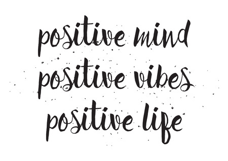 vibes: Positve mind vibes life inscription. Greeting card with calligraphy. Hand drawn design. Black and white. Usable as photo overlay.