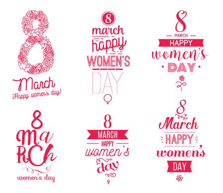 fraue: 8. März typografische Design-Set. Alles Gute zum Tag der Frauen. Verwendbar als Grußkarte, Poster oder einem Druck. Vektor-Illustration. Illustration