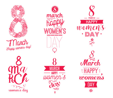 international: 8 march typographic design set. Happy womens day. Usable as greeting card, poster or any print. Vector illustration.