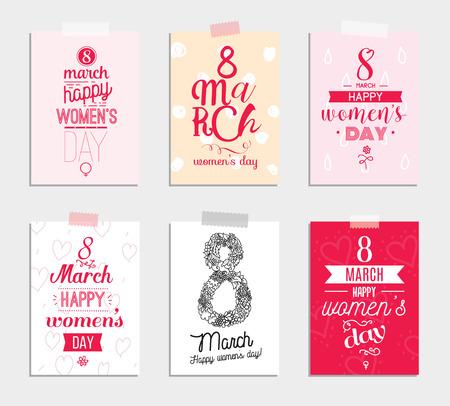 Conjunto de seis tarjetas de felicitación para el día de las mujeres internacionales. Ocho de marzo. Utilizable para las impresiones. Diseño del vector. Mano elementos dibujados.