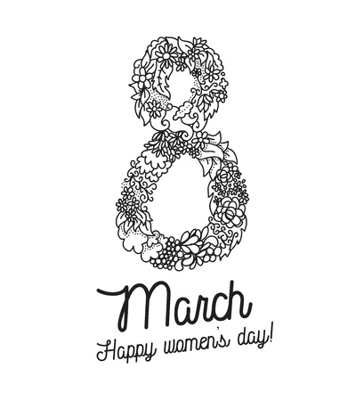 8 march: 8 march typographic design. Happy womens day. Usable as greeting card, poster or any print. Vector illustration. Black on white. Hand drawn floral elements. Illustration