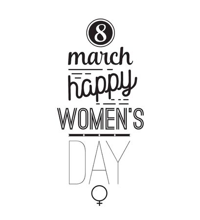 8 march: 8 march typographic design. Happy womens day. Usable as greeting card, poster or any print. Vector illustration. Black on white. Illustration