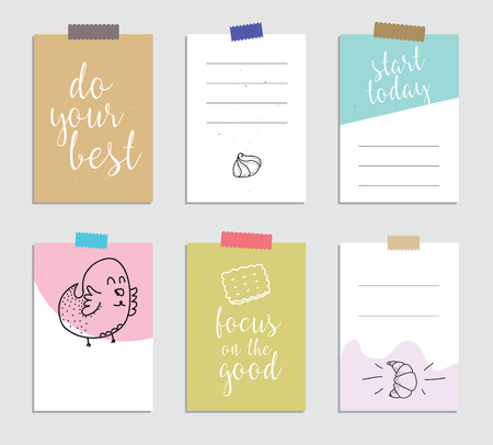 organizer: Set of creative 6 journaling cards. Vector illustration. Template for greeting scrapbooking, planner, congratulations, stickers and invitations. Inspiring quotes. Posters set.