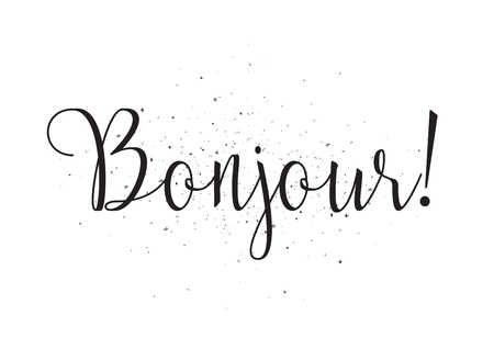 bonjour: Bonjour inscription. Greeting card with calligraphy. Hand drawn design. Black and white. Usable as photo overlay. Illustration