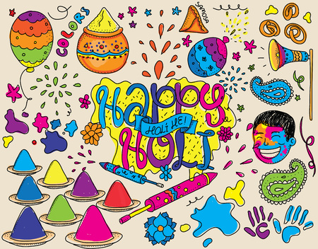 Holi festival illustration. Set of isolated vector objects. Usable for cards, greetings, advertisement. Indian spring festival. Festival of colors. Happy Holi. Hand drawn.