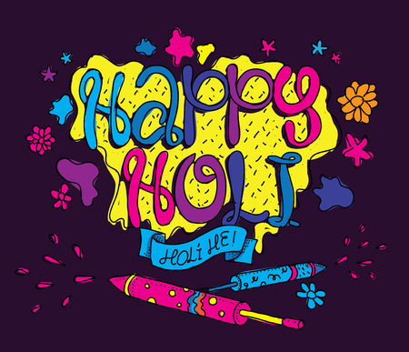 vedic: Holi festival illustration. Usable as greeting card, advertisement or print. Happy Holi. Colors party. Hand drawn vector. Illustration