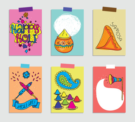 Set of cards for Holi festival. Templates for greeting scrapbooking, planner, congratulations, stickers and invitations. Hand drawn illustrations. Indian traditional culture. Illustration