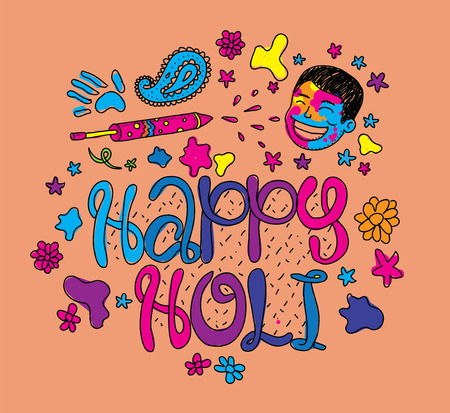 happy holi: Holi festival illustration. Usable as greeting card, advertisement or print. Happy Holi. Colors party. Hand drawn vector. Illustration