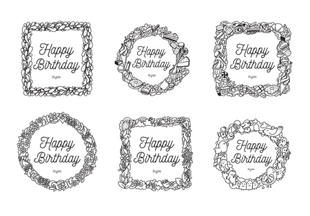 calligraphical: Set of six frames with Happy Birthday calligraphical greeting. Hand drawn vector design. Black and white. Usable for cards, print, greeting, photo overlays. Isolated on white background.