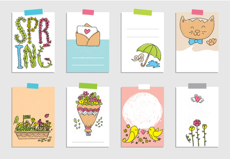 flowerbed: Set of spring cards with flowers and leafs, bouquet, cat and flowerbed. Templates for greeting scrapbooking, planner, congratulations, stickers and invitations. Hand drawn illustrations.