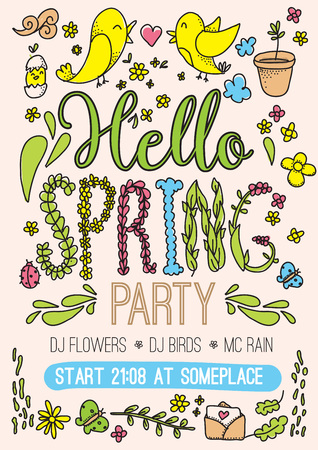 party wear: Hello spring party card. Hand drawn colorful vector illustration with flowers and leafs, heart, birds, umbrella and other. Isolated design elements. Usable for greeting card, web, print, sale and wear. Illustration