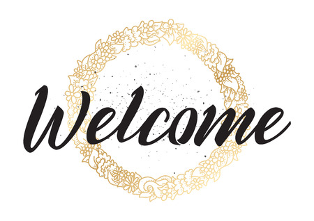welcome: Welcome inscription. Illustration