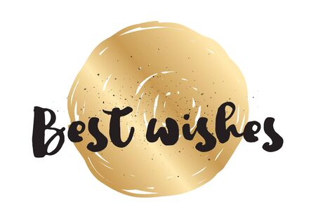 best wishes: Best wishes inscription. Greeting card with calligraphy. Hand drawn lettering design. Photo overlay. Typography for banner, poster or apparel design. Vector typography.
