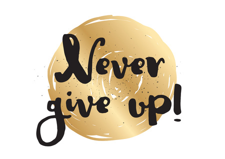give up: Never give up optimistic inspirational inscription. Greeting card with calligraphy. Hand drawn lettering design. Photo overlay. Typography for banner, poster or apparel design. Vector typography.