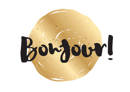 bonjour: Bonjour (hello) inscription. Greeting card with calligraphy. Hand drawn lettering design. Photo overlay. Typography for banner, poster or apparel design. Vector typography.