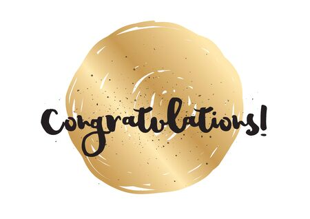 Congratulations inscription. Greeting card with calligraphy. Hand drawn lettering design. Photo overlay. Typography for banner, poster or apparel design. Vector typography.